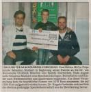 Zeitungsbericht über Manhart-Spende: 5.500 Euro für die Mukoviszidose-Forschung
