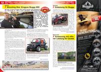 ATV&QUAD Magazin 2012/09-10, Seite 12-13, Aktuell Handel / Interview, Quadix: Shooting Star Xingyue Buggy 800; Schweiz: Zulassung für Buggy; Österreich: Zulassung mit offener Leistung für Cectek