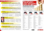 ATV&QUAD Magazin 2012/11-12, Seite 10-11, Aktuell Recht & Steuern / Leute / Handel; Deutschland: T5-Besteuerung für Zugmaschinen-ATVs; Deutschland: Raupen-ATVs: Sondergenehmigung erforderlich; Deutschland: Künftig eigener Führerschein für Quads?; Detlev Louis: Detlev Louis ist tot; Philco: PGO-Importeur ist pleite; KSR Group / Explorer / CF Moto: Santander finanziert nun auch in Deutschland