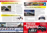 ATV&QUAD Magazin 2013/01-02, Seite 16-17, Aktuell, Triton erwischt: Erlkönig Triton 700 RS; Baas Bike Parts: Automatiklader BA80 für 6 und 12 Volt; Polaris: RZR 900 Jagged X Edition