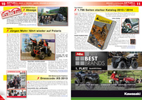 ATV&QUAD Magazin 2013/03-04, Seite 10-11, Aktuell News & Trends / Leute / Bücher & Kataloge, ATV&QUAD Expo 2013: Absage; Jürgen Mohr: fährt wieder Polaris; iXS: Dresscode 2013; Touratech: 1.796 Seiten starker Katalog 2013 / 2014
