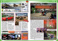 ATV&QUAD Magazin 2014/07-08, Seite 74-75, Szene Deutschland PLZ 4/5; Fursten Forest: Ferrari fahren; Quadfreunde Nordeifel: Treffen in Sinzig; Quadsport Michels / Jump ´n Ride: 1. ATV-, Quad- und Motorradtreffen