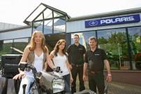 Freppon Hausmesse 2015: Petra, Verena, Alexander und Harald Freppon präsentieren Polaris ATVs und Side-by-Sides am 29. März in Laufach im Spessart